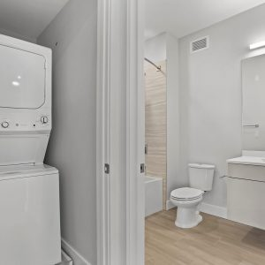 Model unit laundry room and bathroom